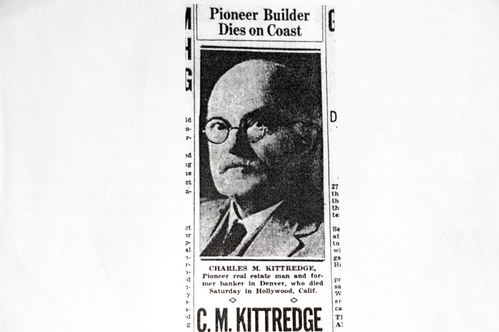 A newspaper clipping about Charles Kittredge that George Dennis printed out. Jan. 15, 2019. (Kevin J. Beaty/Denverite)