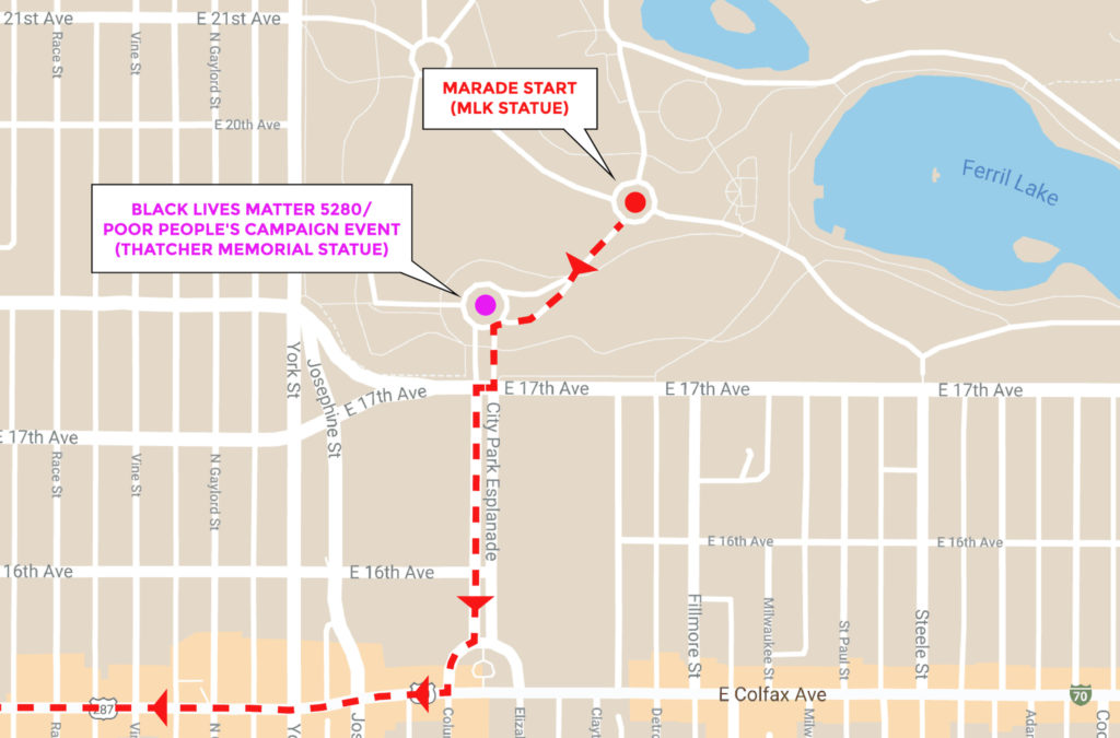 The route of the 2020 Martin Luther King Jr. Marade and the location of  a Black Lives Matter 5280 event in City Park.