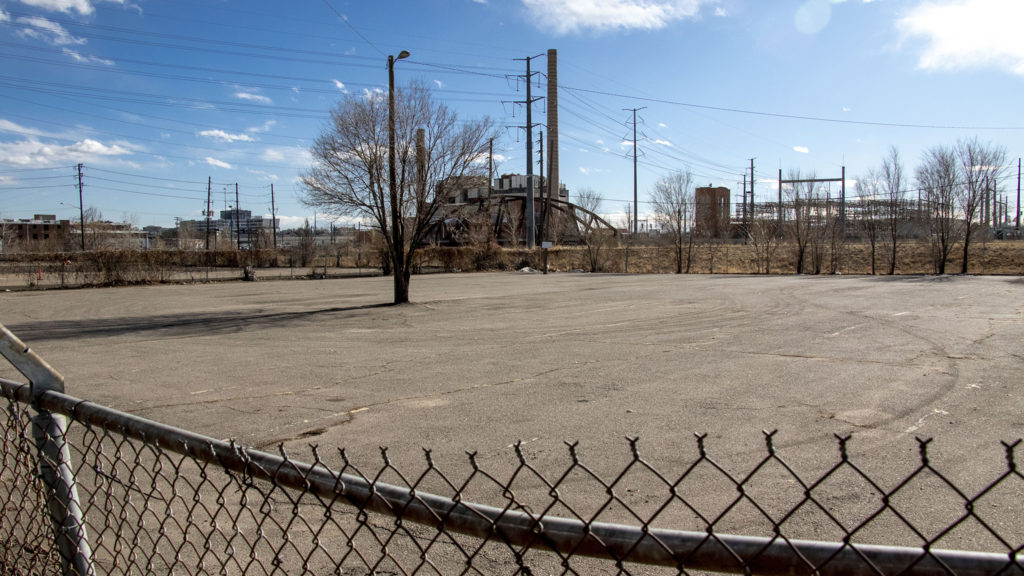 A parking lot across Colfax Avenue from Mile High Stadium in Sun Valley. Jan. 17, 2020. (Kevin J. Beaty/Denverite)