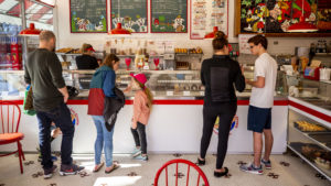 Cone sales were moving on a sunny Saturday at Bonnie Brae Ice Cream, Jan. 25, 2020. (Kevin J. Beaty/Denverite)