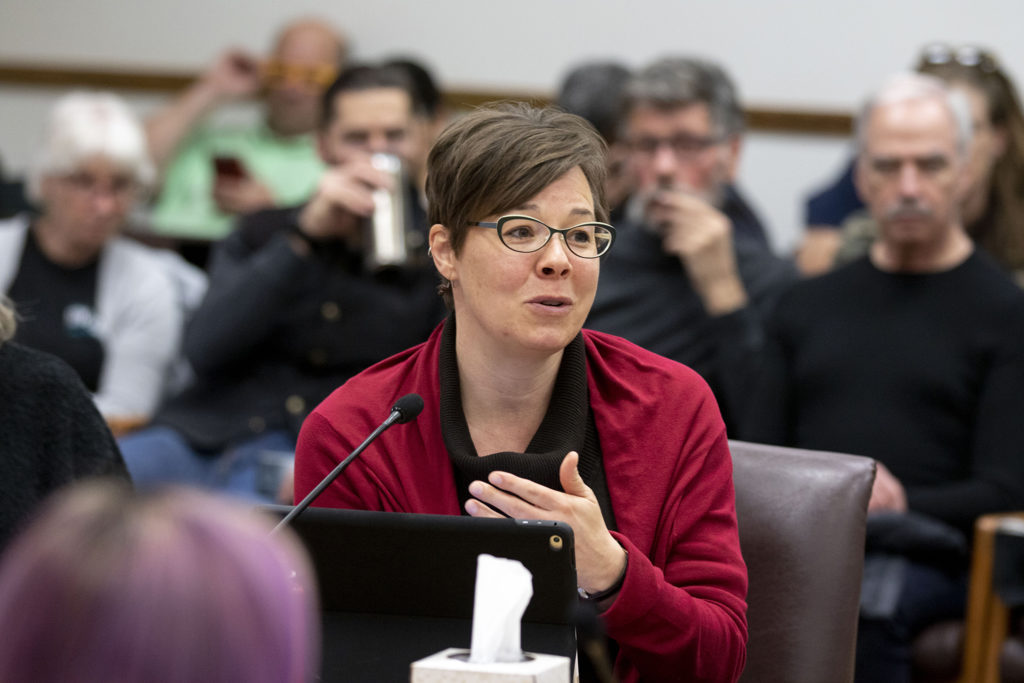 "Denver City Councilwoman Robin Kniech speaks during an all-day ""retreat"" to discuss housing and homelessness. Jan. 31, 2020. (Kevin J. Beaty/Denverite)"