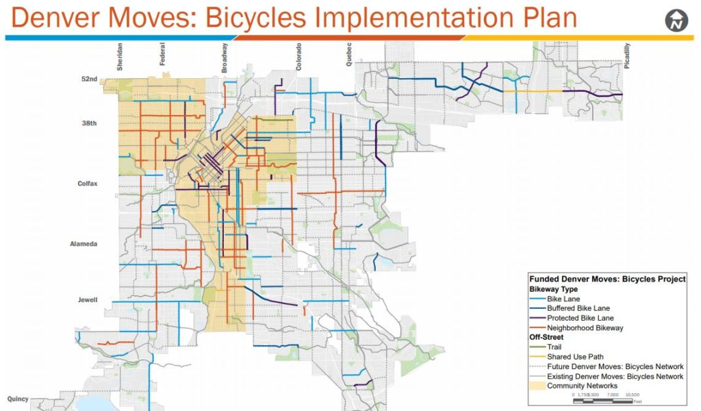 Over the nest three years, Denver's new bike infrastructure will be concentrated in the area shaded in yellow. (Courtesy, Denver Department of Transportation and Infrastructure)