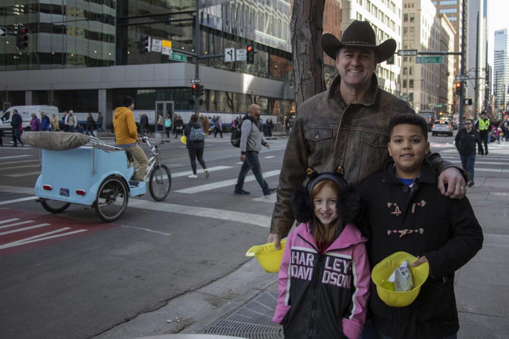 Matt Brooks, 50, with Sammi Brooks, 7, and Jacoby Robinette, 11. (Lindsay Fendt/Denverite)
