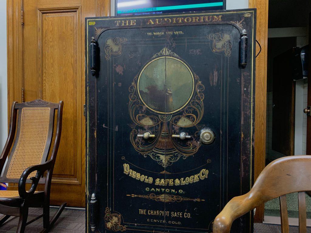 The safe inside Councilman Jolon Clark's office on Thursday, Dec. 19, in Denver. (Esteban L. Hernandez/Denverite)