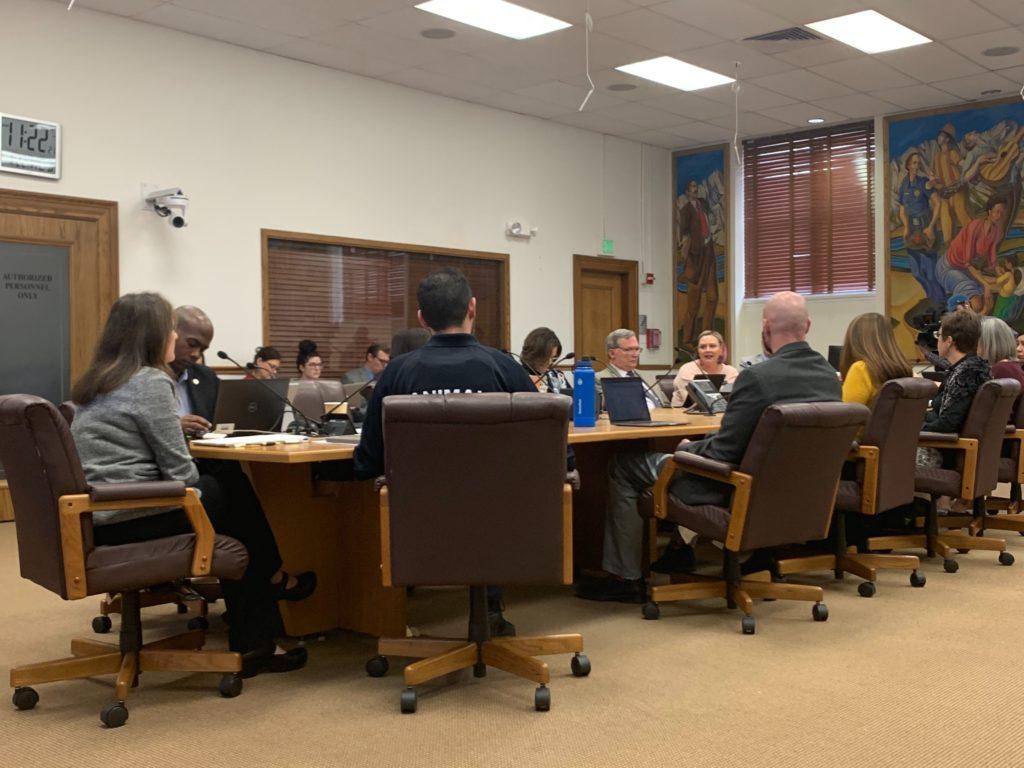 Denver City Council members speak during a committee meeting discussing pit bulls on Wednesday, Jan. 22, in Denver. (Esteban L. Hernandez/Denverite)