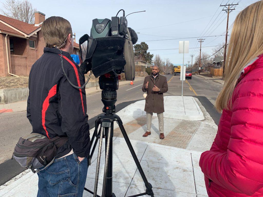 Department of Transportation & Infrastructure executive director Eulois Cleckley speaks to media on Thursday, Jan. 16, in north Denver. (Esteban L. Hernandez/Denverite)