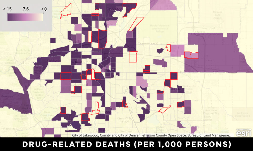 University of Denver researchers used a mapping tool to compare prevalence of mental health issues and rent burden. This one shows drug-related deaths. See the whole map here. (Source: University of Denver)