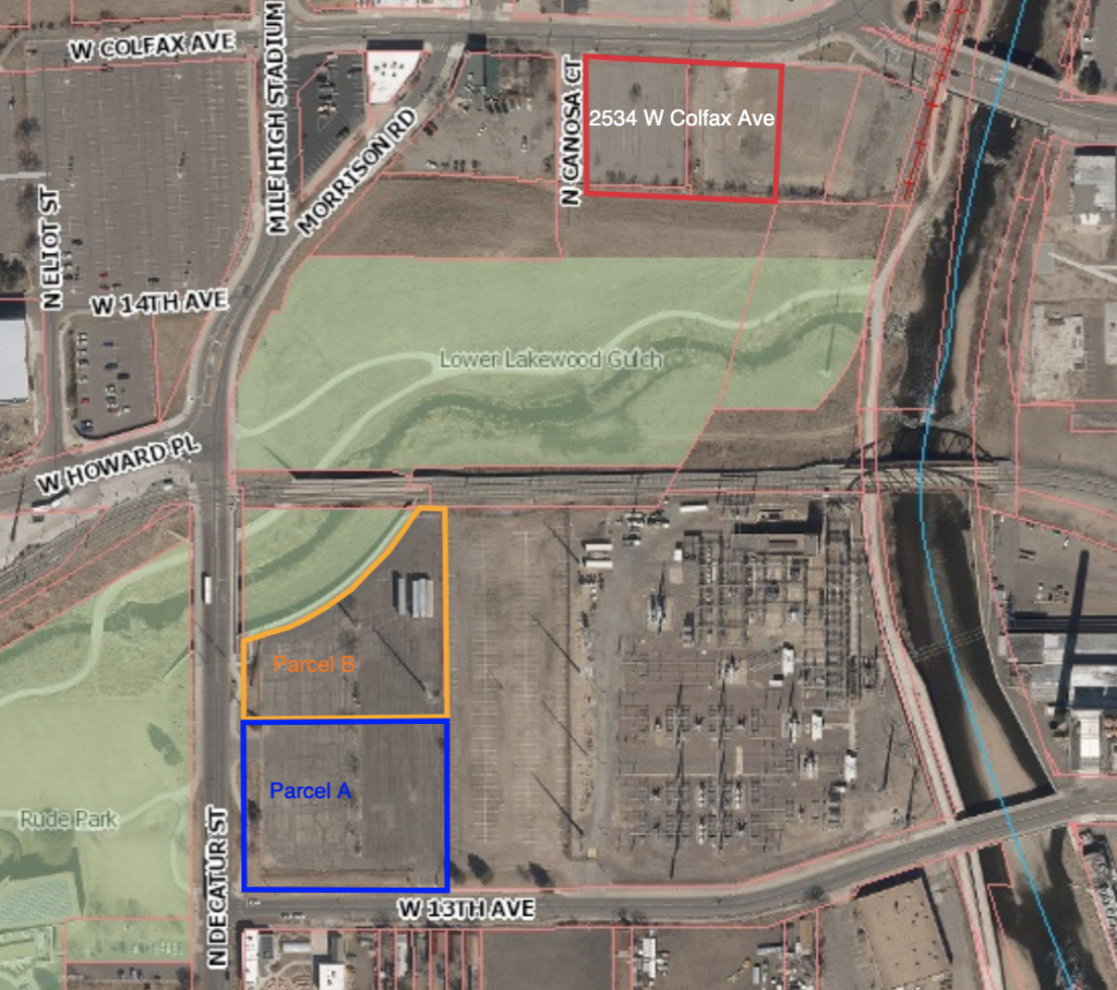 The city will receive the southwest parcels in exchange for the north parcel, outlined in red. (Courtesy, City and County of Denver)