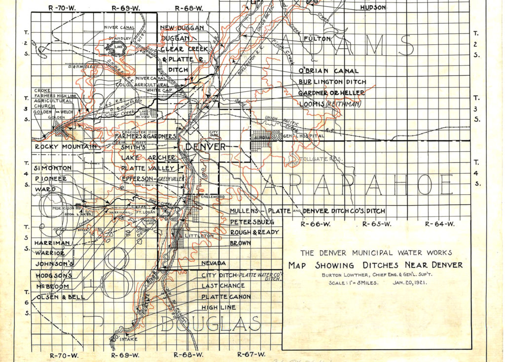 A 1921 map of Denver's service ditches. (Source: Denver Water)