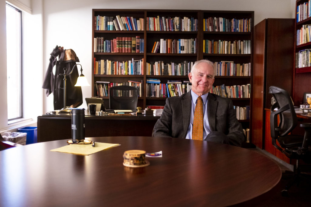Iliff School of Theology President and CEO Thomas Wolfe poses for a portrait in his office. Jan. 18, 2019. (Kevin J. Beaty/Denverite)