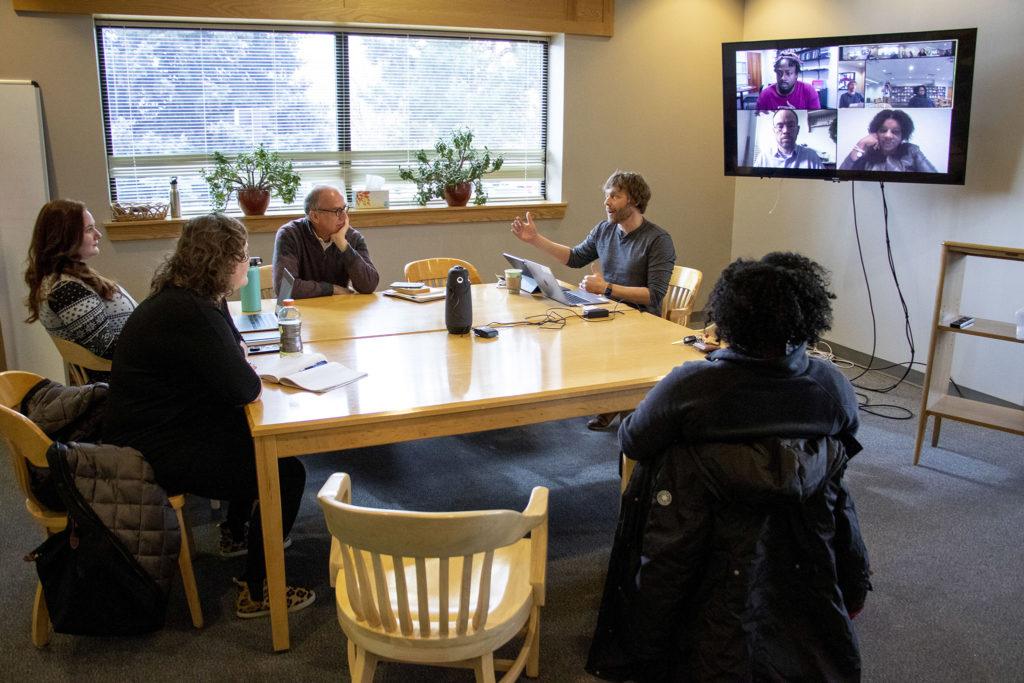 Michael Hemenway spekas during meeting of Iliff School of Theology's AI Institute steering committee, Jan. 29, 2020. (Kevin J. Beaty/Denverite)