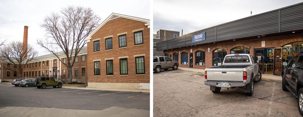 The building containing Elizabeth Warren's Denver field office in Clayton (left) and Bernie Sanders' Colfax Avenue headquarters, Feb. 1, 2020. (Kevin J. Beaty/Denverite)