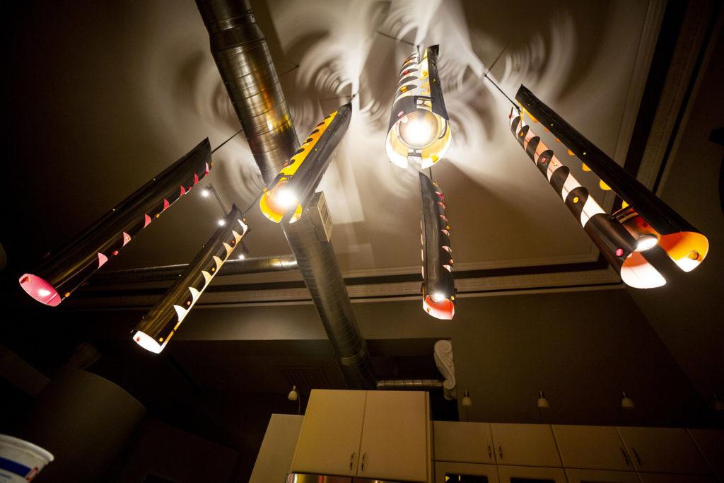 Custom lighting inside Keith Parks' apartment, formerly a Carnegie library in Denver's Cole neighborhood. Feb. 5, 2020. (Kevin J. Beaty/Denverite)
