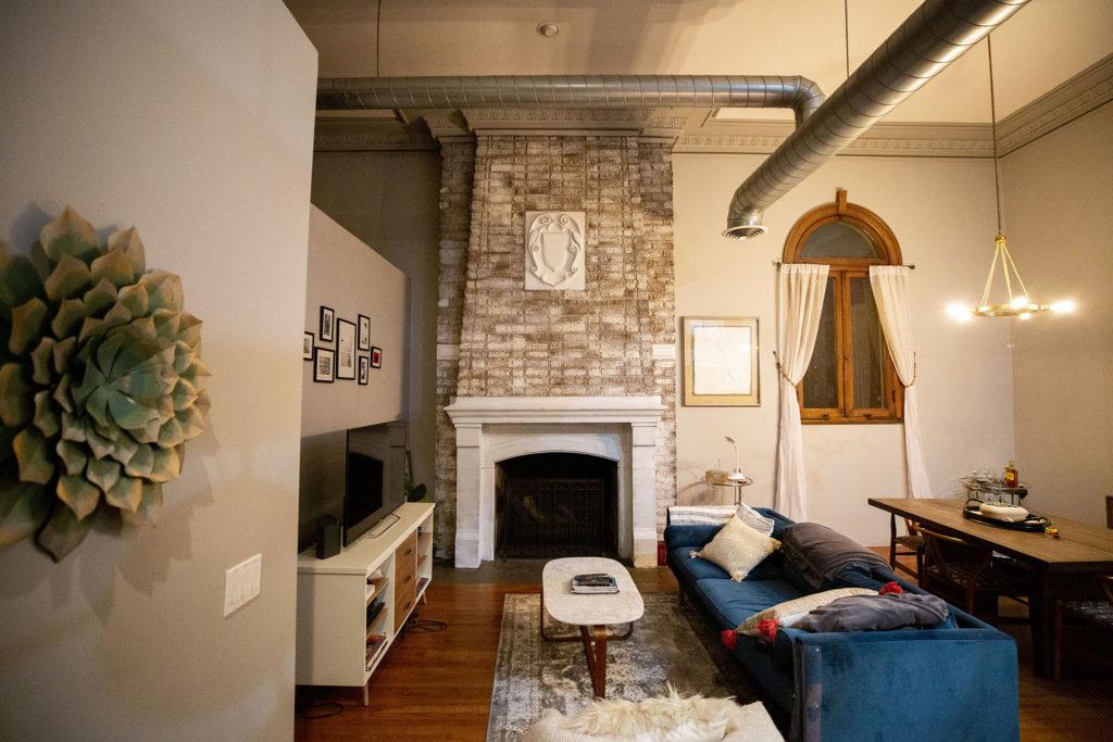 An apartment inside an old Carnegie library in Denver's Cole neighborhood. Feb. 5, 2020. (Kevin J. Beaty/Denverite)