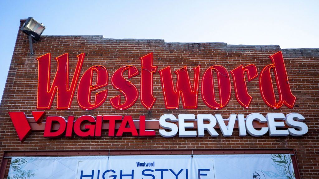 Westword's Golden Triangle headquarters and iconic neon sign. Feb. 5, 2020. (Kevin J. Beaty/Denverite)