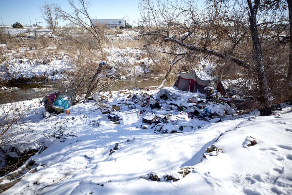 Encampments along the Sand Creek, right on the line between Denver and Commerce City. Feb. 5, 2020. (Kevin J. Beaty/Denverite)