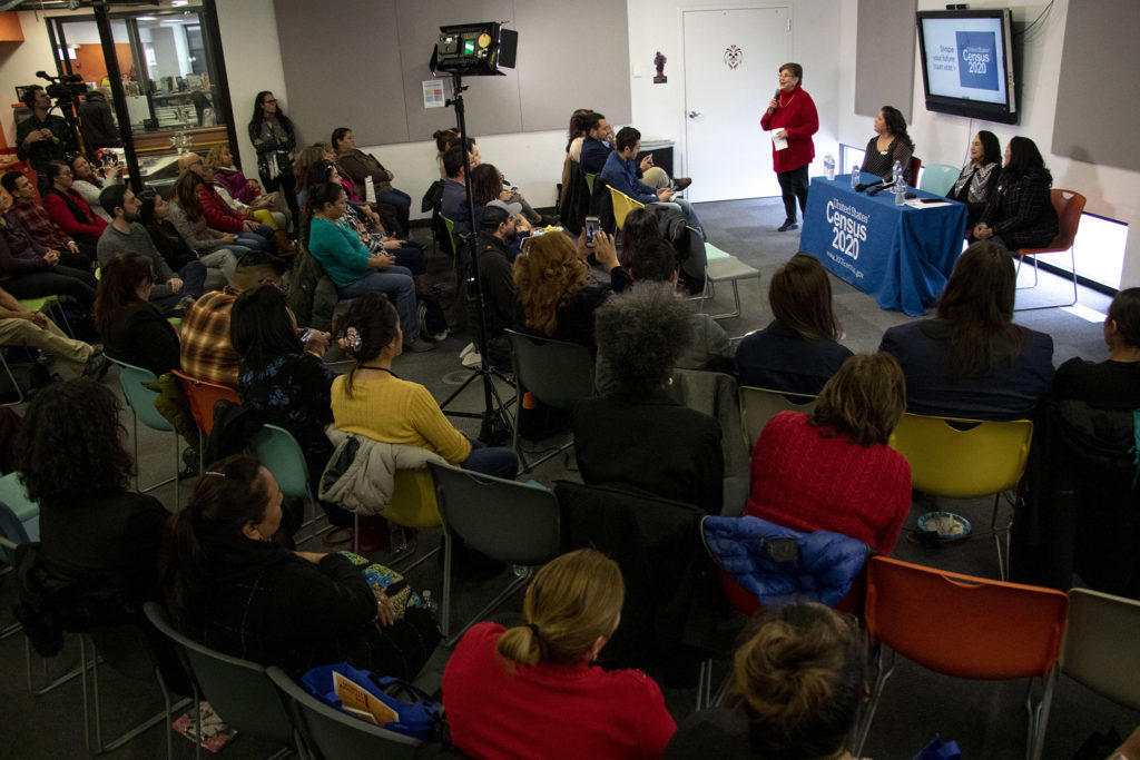 A large crowd gathered to hear Dolores Huerta speak about the 2020 U.S. Census at the Corky Gonzales library on West Colfax Avenue, Feb. 12, 2020. (Kevin J. Beaty/Denverite)
