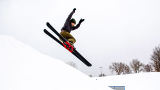 Gabe Alhussaini flies off a jump at the Ruby Hill Rail Yard, Feb. 12, 2020. (Kevin J. Beaty/Denverite)
