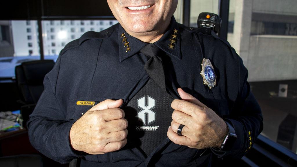 Denver Police Chief Paul Pazen wears a bullet-proof vest beneath his uniform. Feb. 14, 2020. (Kevin J. Beaty/Denverite)