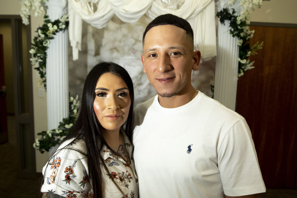 Thomas and Erika Zuniga were married on Valentine's Day at the office of Denver's Clerk and Recorder, Feb. 14, 2020. (Kevin J. Beaty/Denverite)