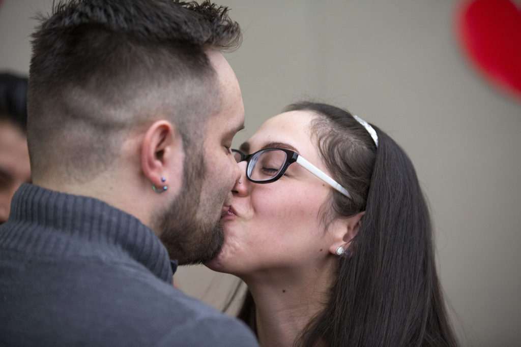 Jesse and Joanna Bailey are married on Valentine's Day at the office of Denver's Clerk and Recorder, Feb. 14, 2020. (Kevin J. Beaty/Denverite)