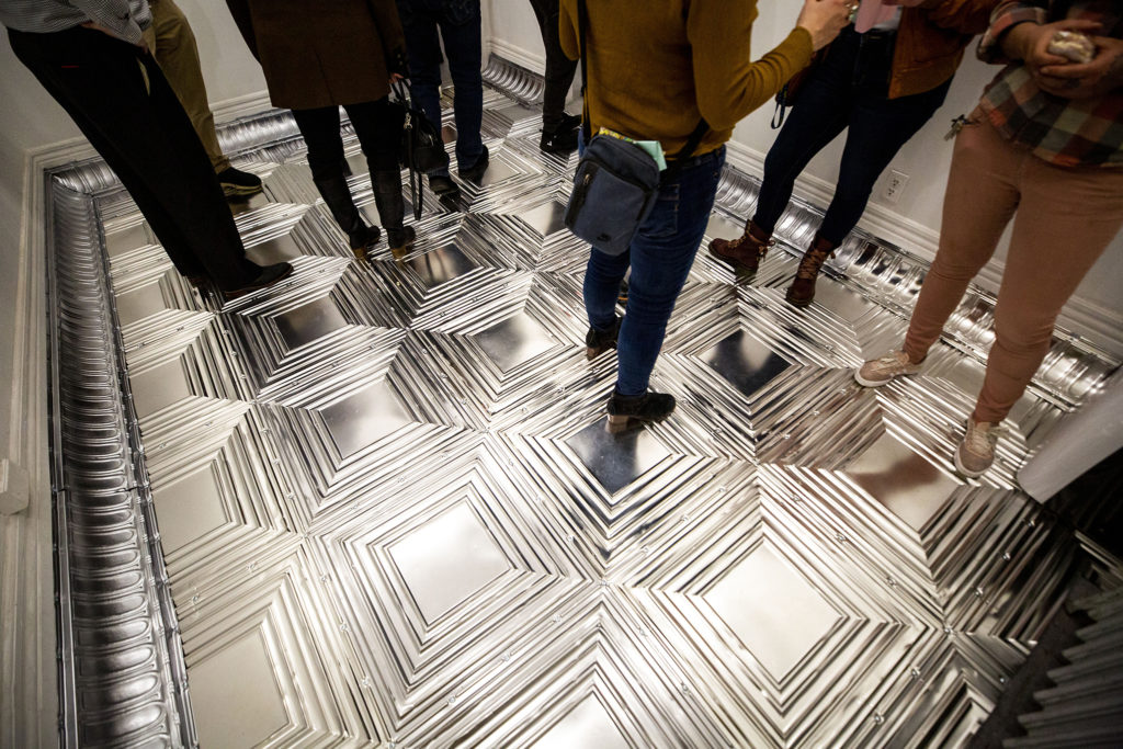 A shiny floor. The Dikeou Collection has re-opened for an exhibition of Devon Dikeou's work, Feb. 20, 2020. (Kevin J. Beaty/Denverite)