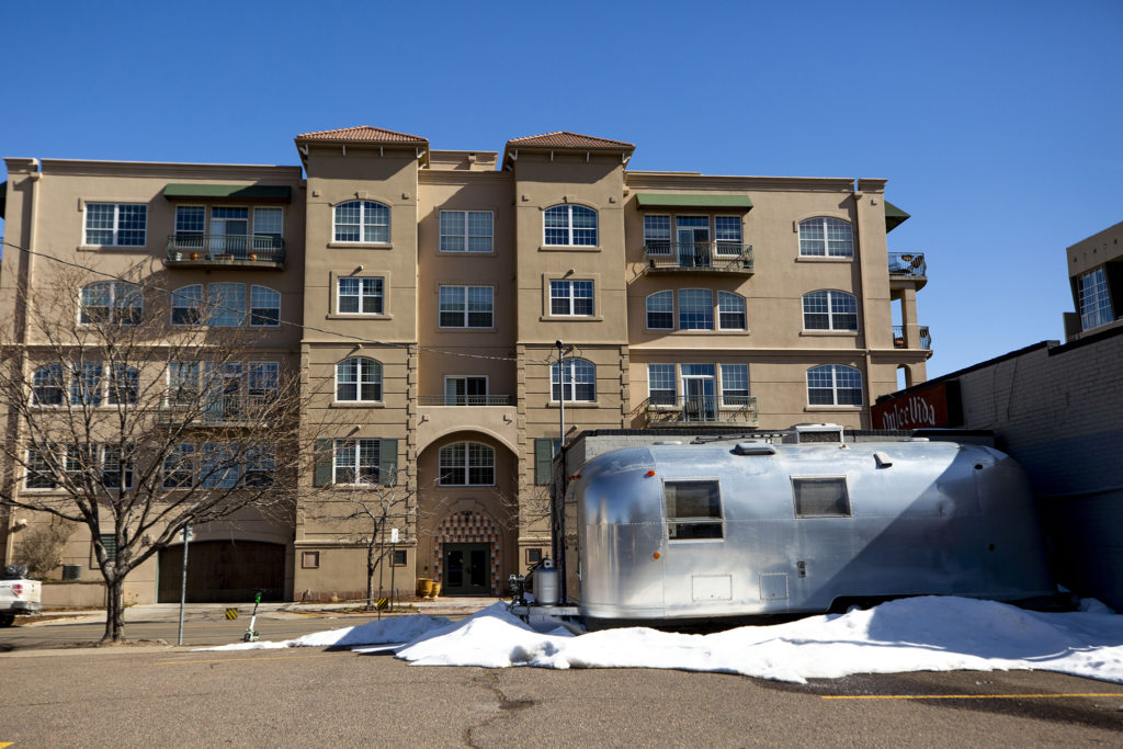 """A """"vintage"""" Airstream trailer currently parked at 12th Avenue and Cherokee Street, Feb. 21, 2020. (Kevin J. Beaty/Denverite)"""