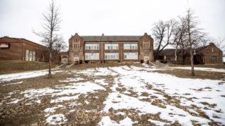 The dormant Rosedale School in Denver's Rosedale neighborhood. Feb. 25, 2020. (Kevin J. Beaty/Denverite)