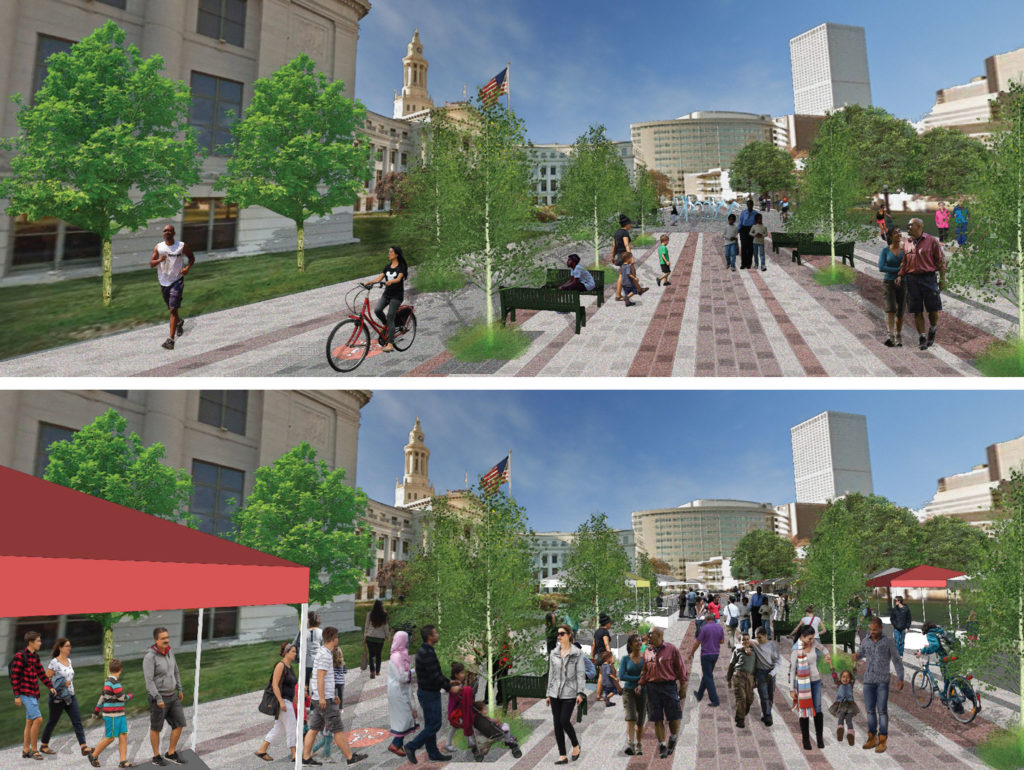 Bannock Street, Phase 1 day-to-day (top) and special event concepts. (Courtesy: Denver Department of Transportation and Infrastructure)