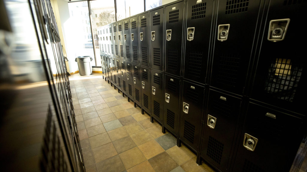 Denver's new storage locker program at 303 West Colfax Avenue, Feb. 28, 2020. (Kevin J. Beaty/Denverite)