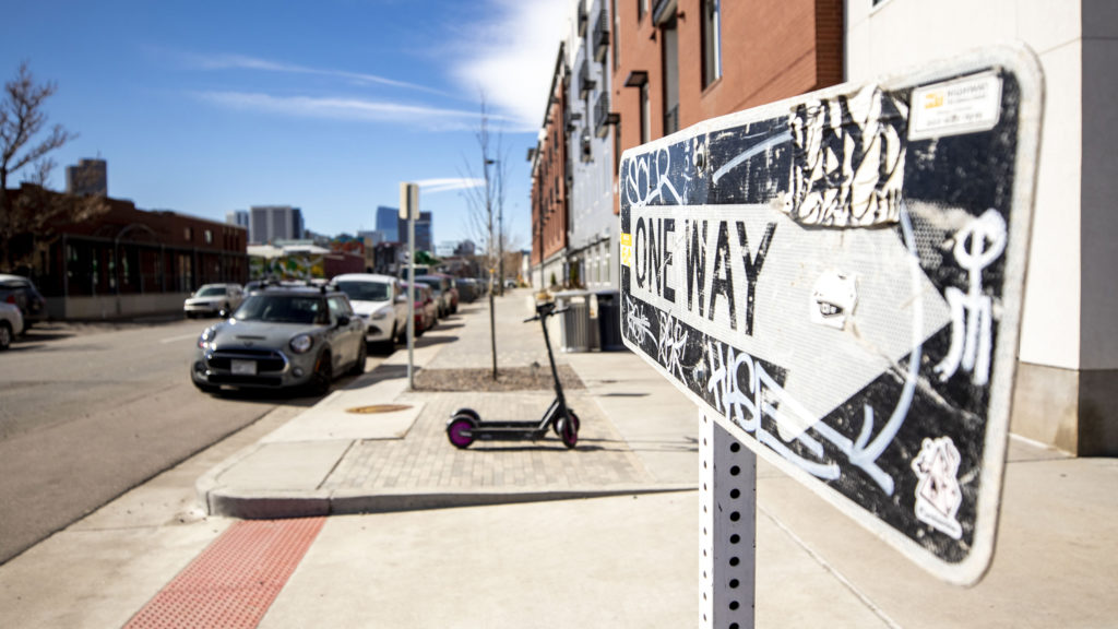 Walnut Street is a one-way street. March 4, 2020. (Kevin J. Beaty/Denverite)