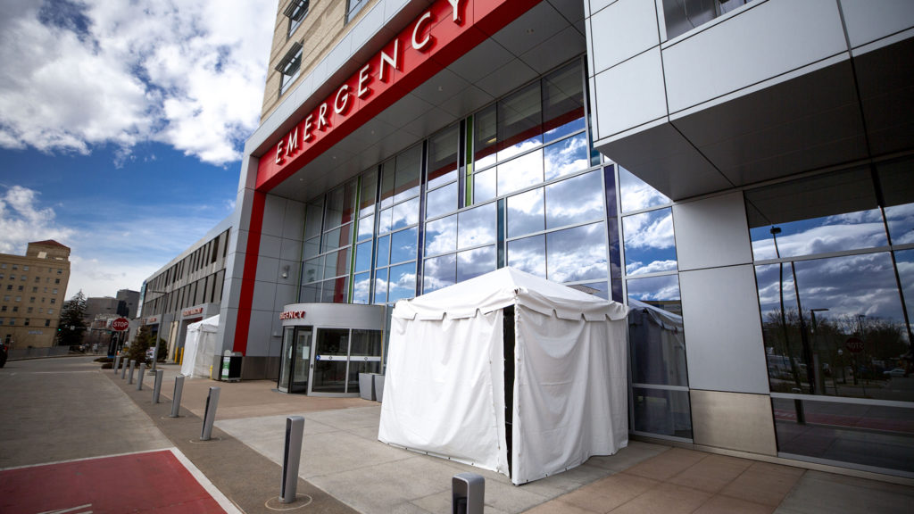 Tents outside of St. Joseph Hospital that may become a drive-through testing station for COVID-19, March 10, 2020. (Kevin J. Beaty/Denverite)