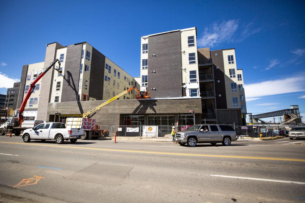 A housing development at 38th Avenue and Walnut Street, March 11, 2020. (Kevin J. Beaty/Denverite)
