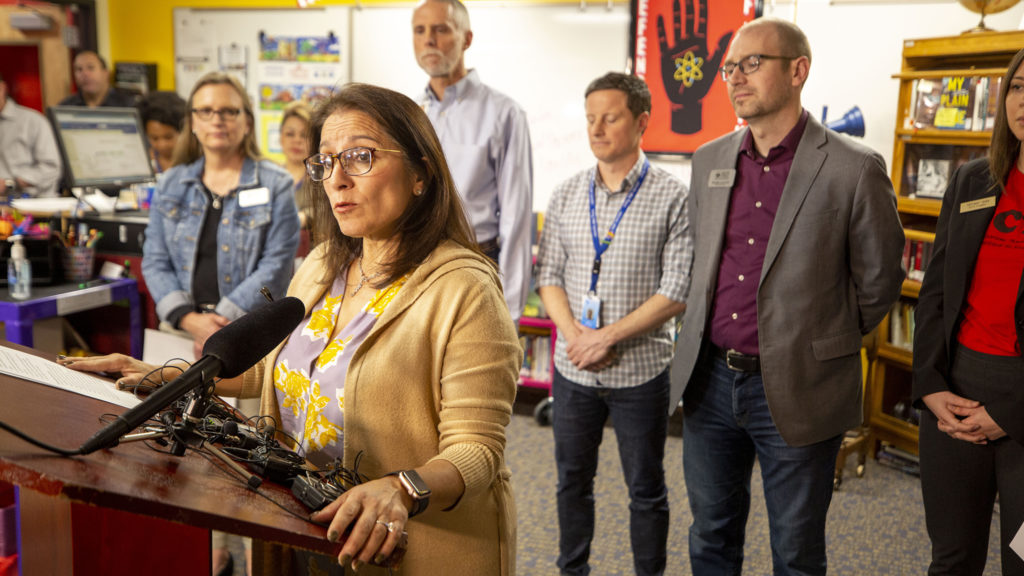 Denver Public Schools Superintendent Susana Cordova announces an extended spring break to protect students from COVID-19. March 12, 2020. (Kevin J. Beaty/Denverite)