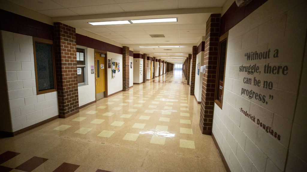 Bruce Randolph School during an extended COVID-19 spring break. March 19, 2020. (Kevin J. Beaty/Denverite)