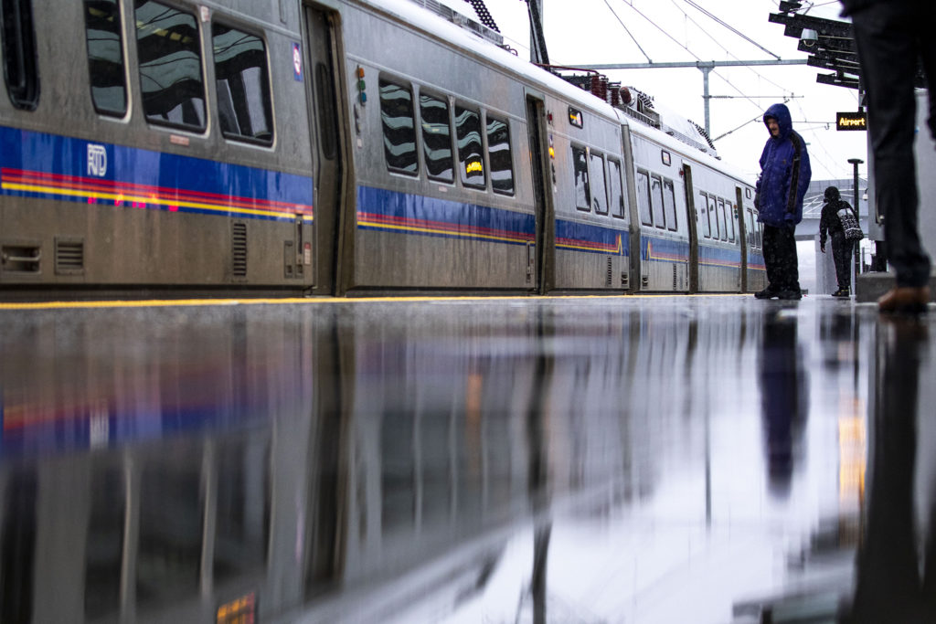 A DIA-bound train pulls up at RTD's Central Park Station, March 19, 2020. (Kevin J. Beaty/Denverite)