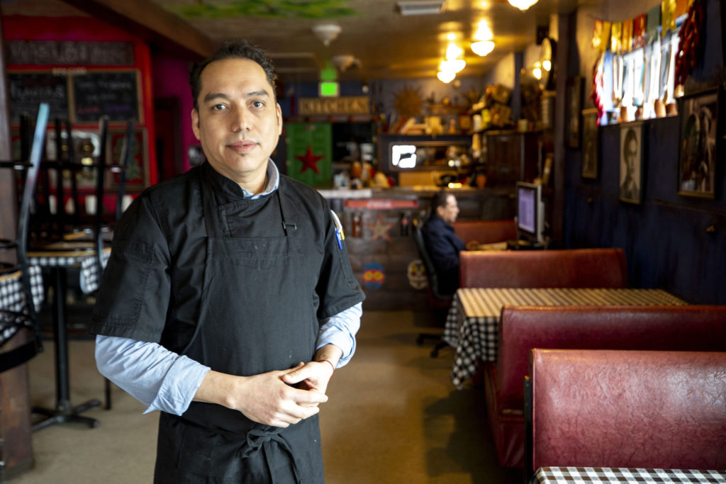 Noe Bermudez, owner of Kahlo's Mexican Restaurant, speaks to a reporter. Westwood, March 20, 2020. (Kevin J. Beaty/Denverite)