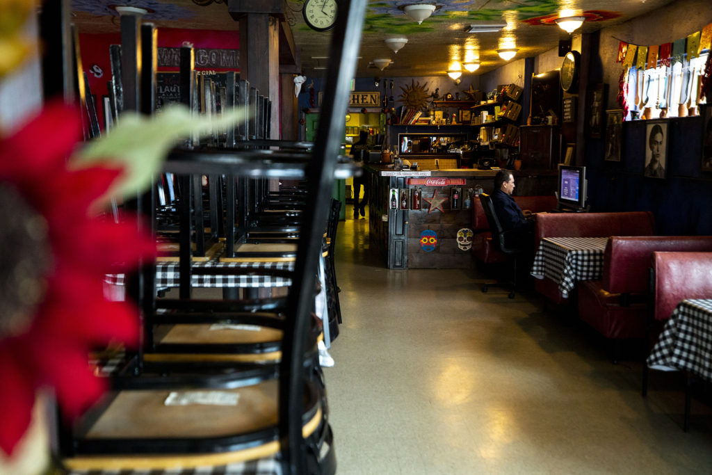 Kahlo's Mexican Restaurant is closed for dine-in. Westwood, March 20, 2020. (Kevin J. Beaty/Denverite)