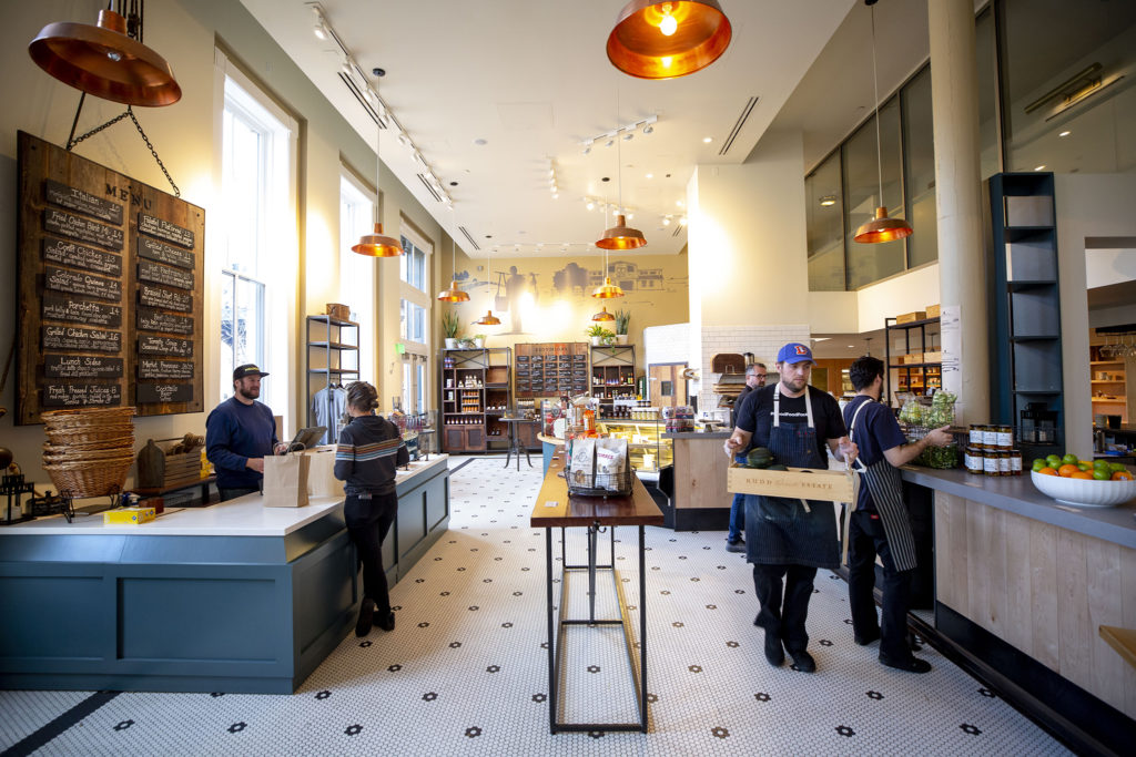 Mercantile Dining and Provision at Union Station has re-opened with a focus on operating as a mini-grocery. March 21, 2020. (Kevin J. Beaty/Denverite)