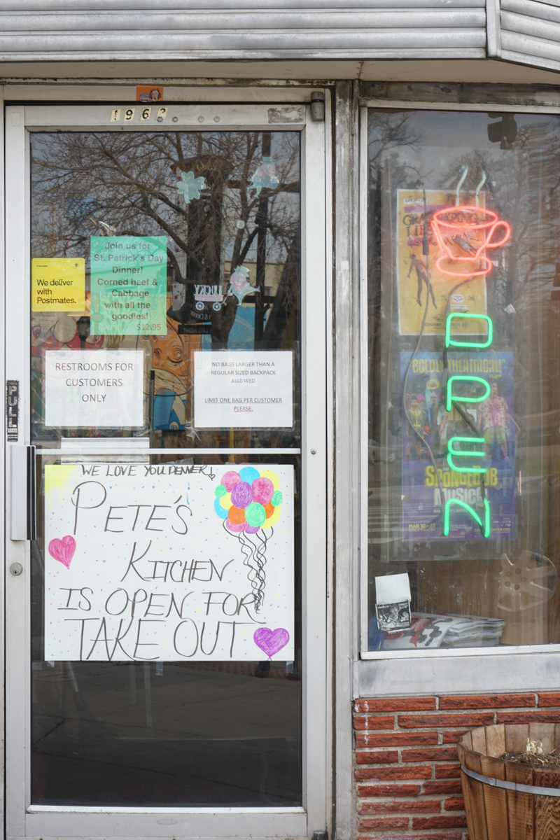 Pete's Kitchen on East Colfax, March 17, 2020. (Emily Owens)