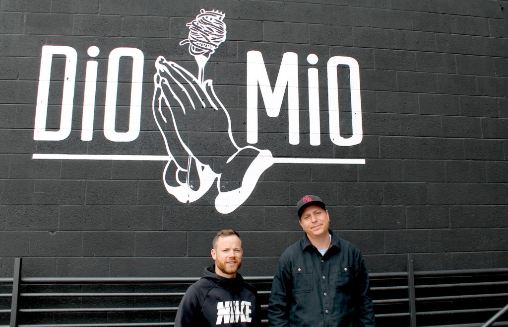 Alex Figura, left, and Spencer White, owners of Dio Mio at 3264 Larimer St. March. 16, 2020. (David Sachs/Denverite)