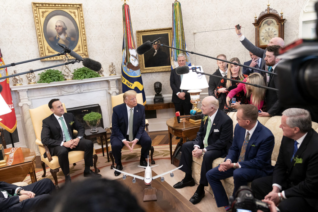 President Donald J. Trump and Irish Prime Minister Leo Varadkar meet with reporters Thursday, March 12, 2020, in the Oval Office of the White House. (Official White House Photo by Shealah Craighead)