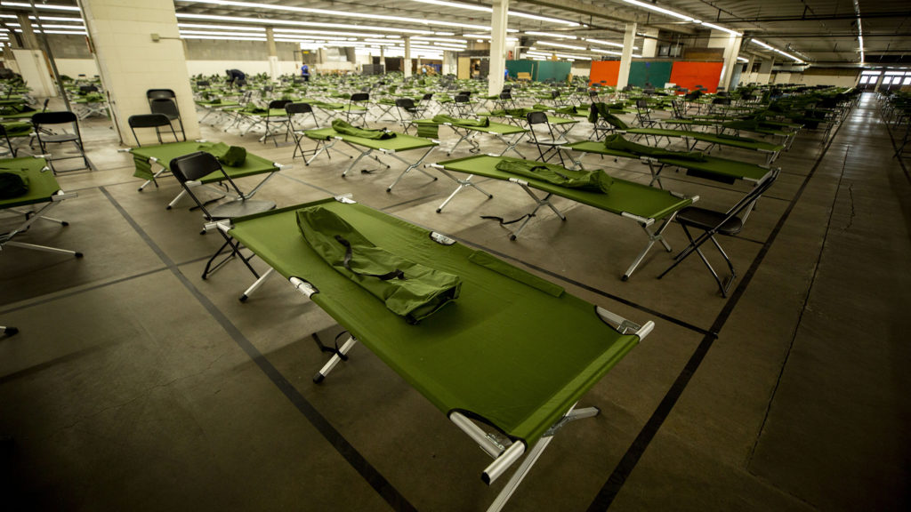 The National Western Center is being set up to become a shelter for unhoused men. April 8, 2020. (Kevin J. Beaty/Denverite)