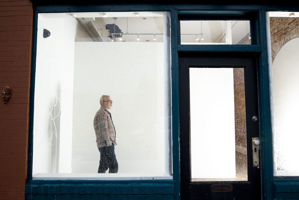 Leon Gallery owner Eric Nord stands in his City Park West space. April 15, 2020. (Kevin J. Beaty/Denverite)