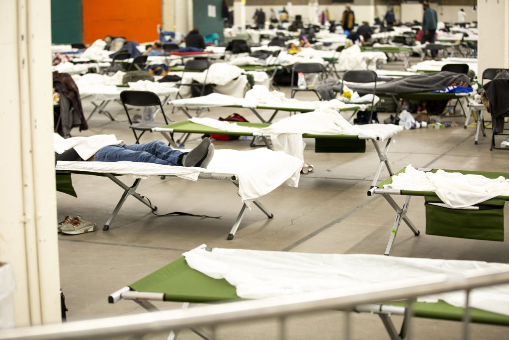 The National Western Center is now a shelter for people living in homelessness, operated by the Denver Rescue Mission. April 15, 2020. (Kevin J. Beaty/Denverite)