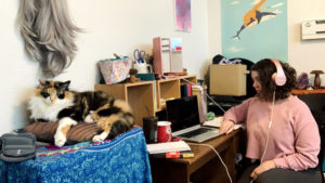 Desiree Collins in her home office, where she's spending a lot of time in social isolation. (Courtesy: Desiree Collins)