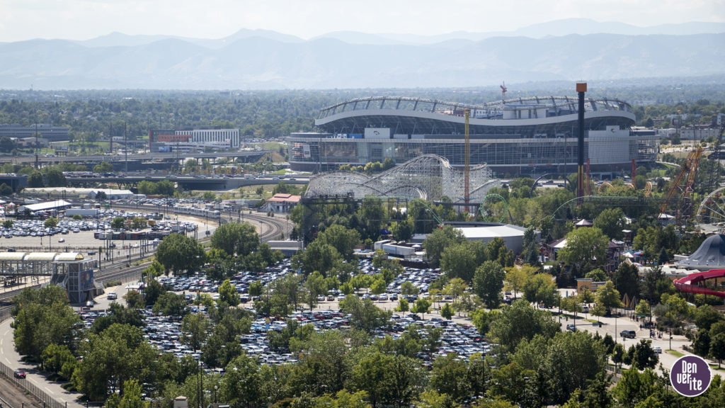Mile High Stadium, seen from atop the DaVita Kidney Care building downtown, Sept. 9, 2018. (Kevin J. Beaty/Denverite)