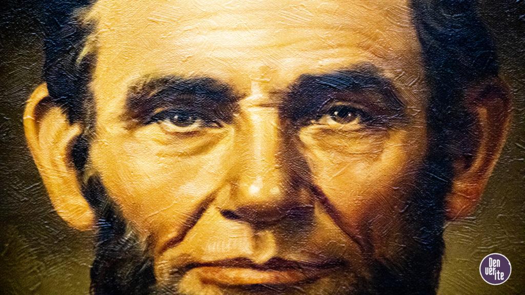A portrait of President Abraham Lincolm inside the Colorado State Capitol, Aug. 1, 2019. (Kevin J. Beaty/Denverite)