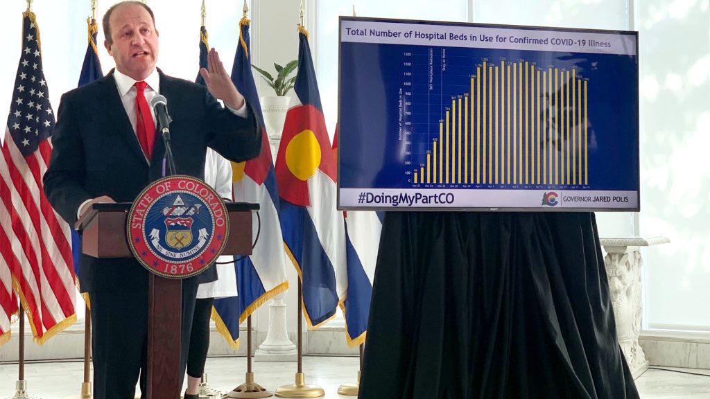 Gov. Jared Polis provides an update on the state's response to the new coronavirus on Monday, April 20, 2020. (Andrew Kenney/CPR News)