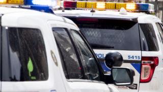 Denver Police cars on the 16th Street Mall. April 24, 2020. (Kevin J. Beaty/Denverite)